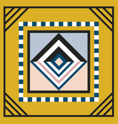 Modern geometric tile rhombus emblem on yellow vector