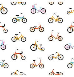 Modern seamless pattern with kids bicycles of vector