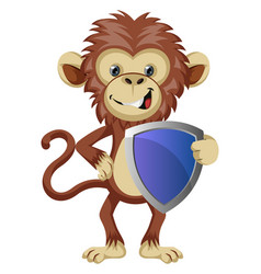 monkey with shield on white background vector image
