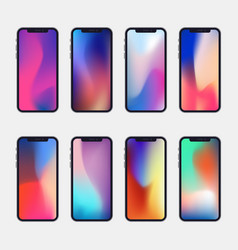 New generation phone with 8 modern wallpapers vector
