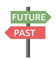 Past future sign isolated vector