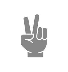 Peace gesture gray icon victory hand symbol vector