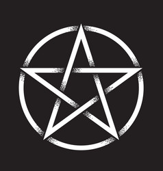 Pentagram dot work ancient pagan symbol vector