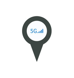 pin icon with 5g sign symbol vector image