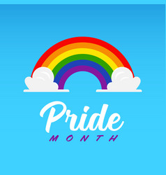 pride month symbol rainbow with cloud on blue sky vector image