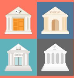 public building icons set vector image