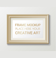Realistic rectangular gold frame template frame vector