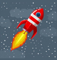 Retro space rocket lifts off vector