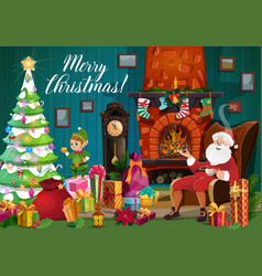 santa christmas elf and xmas gifts near fireplace vector image