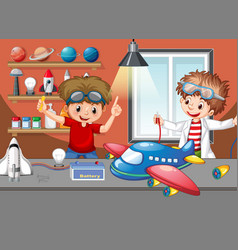 Scene with children repairing plane together vector