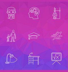 School icons line style set with desk lamp sports vector