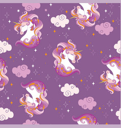 Seamless pattern with heads unicorns and clouds vector