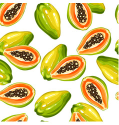 Seamless pettern with papaya isolated on white vector