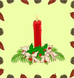 Seamless texture Christmas red candle with ribbon vector image