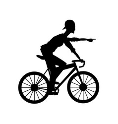 Silhouette man riding cycle transport vector