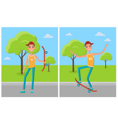 skateboarder training in green skatepark with tree vector image