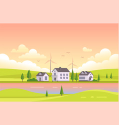 Small houses by the river during sunset - modern vector