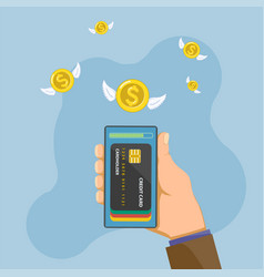 smartphone with credit cards on screen vector image