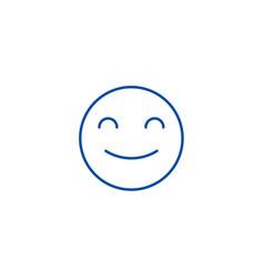 smiling emoji line icon concept smiling emoji vector image