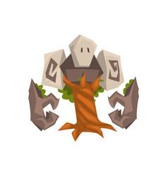 Stone tree golem fantasy mystic monster creature vector