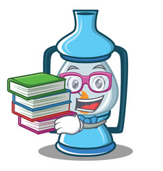 Student with book lantern character cartoon style vector