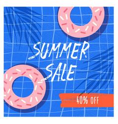 summer sale flat banner template doughnuts vector image