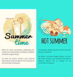 summer time hot vacation posters with attributes vector image