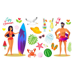 summer vacation of people elements icons set vector image
