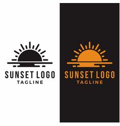 sunset sunrise graphicsea reflection sun logo vector image