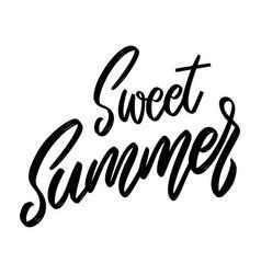 sweet summer lettering phrase on white background vector image