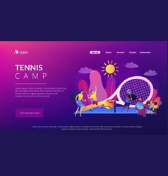 Tennis camp concept landing page vector