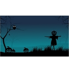 The Scarecrow and Pumpkins Halloween scary vector