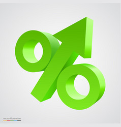 three-dimensional percent icon vector image