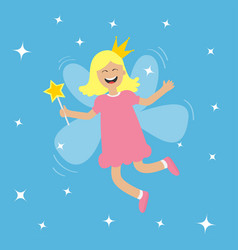 tooth fairy flying wings smiling teeth mouth girl vector image