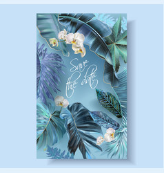 Tropical leaves turquoise and violet wedding cards vector
