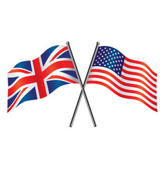 Usa and uk flags crossed alliance vector