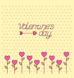 Valentines day celebration with hearts flowers vector