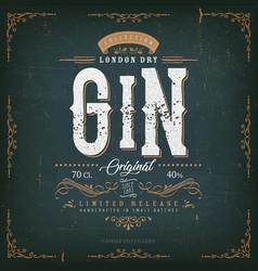 vintage london gin label for bottle vector image