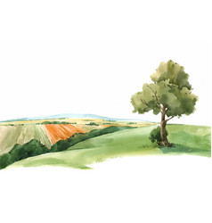 Watercolor scenery landscape view paysage vector