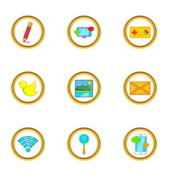 Web free time icon set cartoon style vector