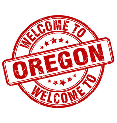 Welcome to oregon red round vintage stamp vector