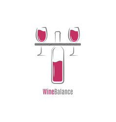wine red and white balance concept logo design vector image
