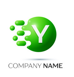 Y letter splash logo green dots and circle bubble vector