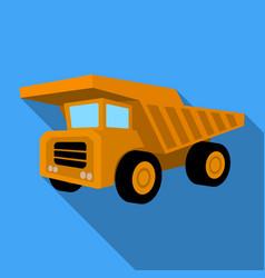 Yellow dump truck with black wheelsthe vehicle vector