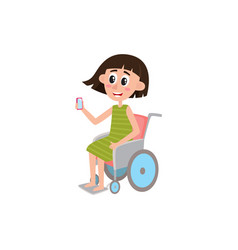Young woman sitting in wheelchair holding phone vector