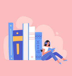 young woman sitting near a pile of books vector image