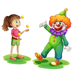 A clown and a young girl vector image