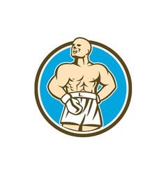 Boxer champion shouting circle retro vector