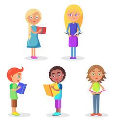 five schoolchildren stands and holds schoolbooks vector image