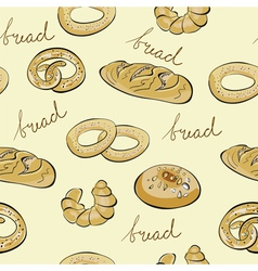seamless wallpaper with bread vector image vector image